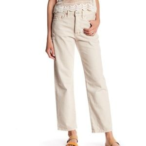 FREE PEOPLE - Universal Boyfriend Jean Worn White